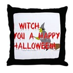 I Witch You A Happy Halloween Throw Pillow
