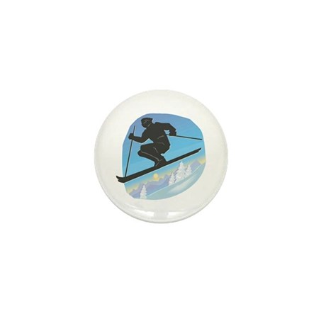 Cool Skier Design Mini Button (100 pack)