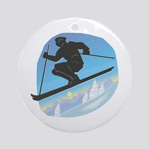 Cool Skier Design Ornament (Round)