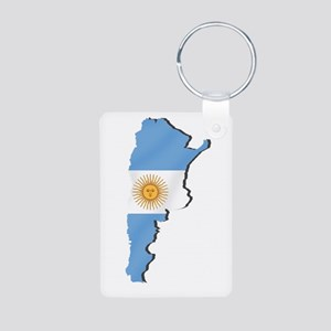 Argentina Flag Map Aluminum Photo Keychain