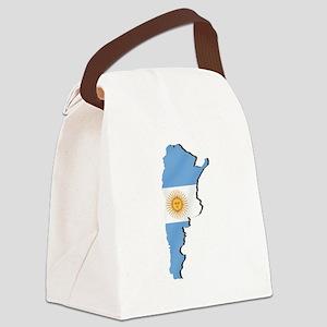 Argentina Flag Map Canvas Lunch Bag