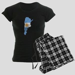 Argentina Flag Map Women's Dark Pajamas