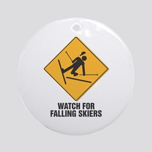 Falling Skiers Sign Ornament (Round)