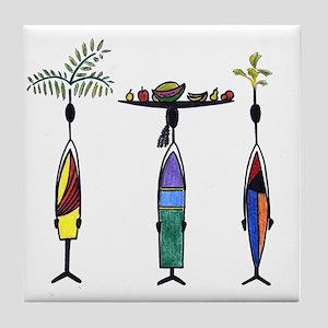 Tropical Ethnic Figures Tile Coaster