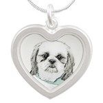 Shih Tzu Silver Heart Necklace