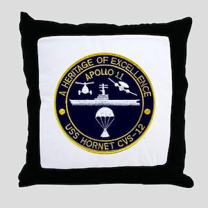USS Hornet Apollo 11 Throw Pillow
