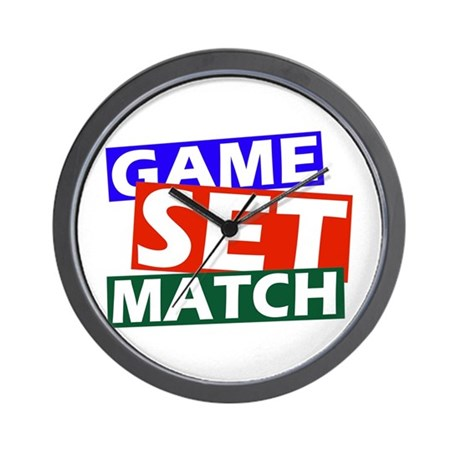 game set match Wall Clock by happymule