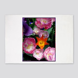 Tulips! Colorful spring flower photo! 5'x7'Area Ru