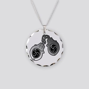 Metal Handcuffs and BDSM Symbol Necklace Circle Ch