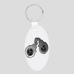 Metal Handcuffs and BDSM Symbol Aluminum Oval Keyc
