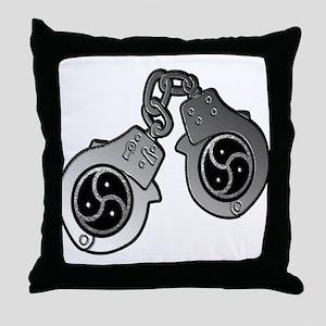 Metal Handcuffs and BDSM Symbol Throw Pillow
