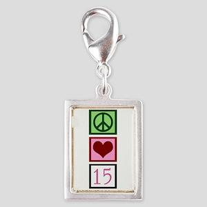 Peace Love Fifteen Silver Portrait Charm