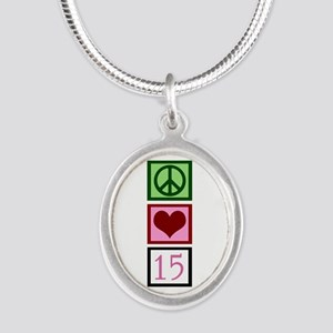 Peace Love Fifteen Silver Oval Necklace