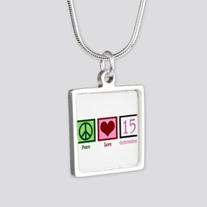 Peace Love Fifteen Silver Square Necklace
