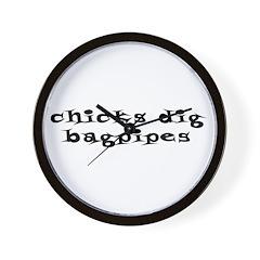 Chicks Dig Bagpipes Wall Clock