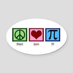 Peace Love Pi Oval Car Magnet