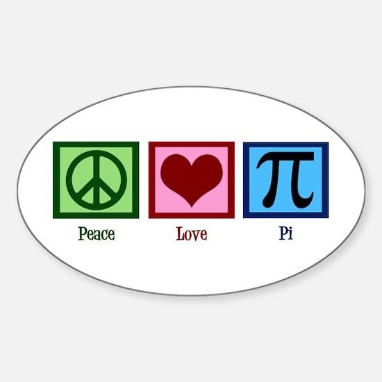 Peace Love Pi Sticker (Oval)