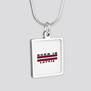 Born In Latvia Silver Square Necklace