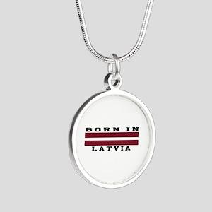 Born In Latvia Silver Round Necklace