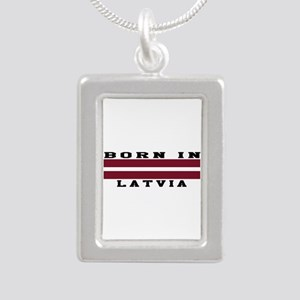 Born In Latvia Silver Portrait Necklace