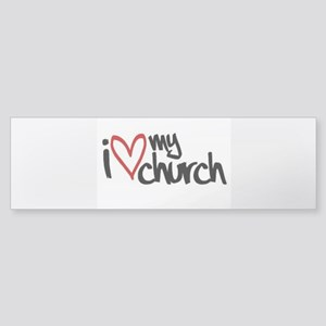 I love my church heart. Bumper Sticker