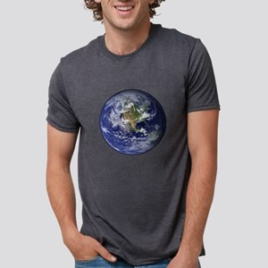 Western Earth from Space Mens Tri-blend T-Shirt