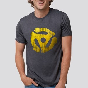 Distressed Yellow 45 RPM Adap Mens Tri-blend T-Shi