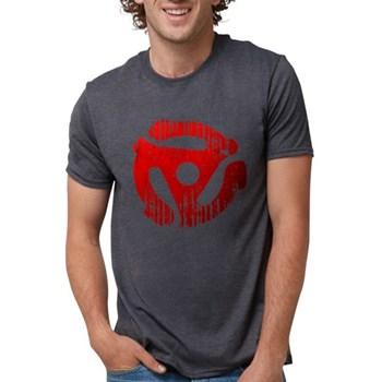 Distressed Red 45 RPM Adap Mens Tri-blend T-Shirt