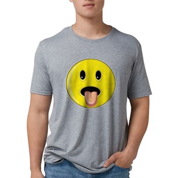 Smiley Face - Tongue Out Mens Tri-blend T-Shirt