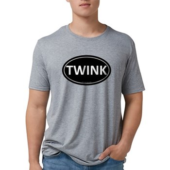 TWINK Black Euro Oval Mens Tri-blend T-Shirt