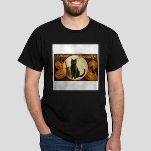 Black Halloween Cat Dark T-Shirt