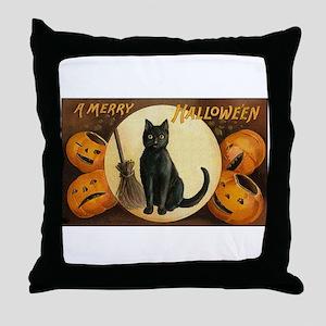 Black Halloween Cat Throw Pillow