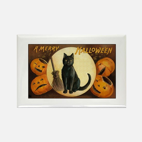 Black Halloween Cat Rectangle Magnet