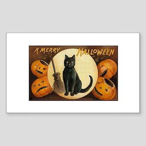 Black Halloween Cat Rectangle Sticker
