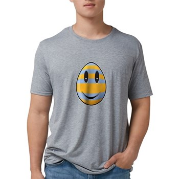 Smiley Easter Egg Mens Tri-blend T-Shirt