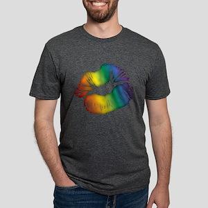Big Rainbow Lips Mens Tri-blend T-Shirt