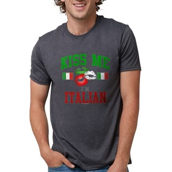 Kiss Me I'm Italian Mens Tri-blend T-Shirt