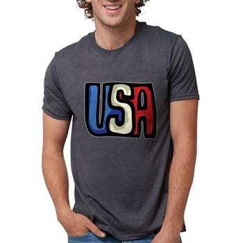 Red, White and Blue USA Mens Tri-blend T-Shirt