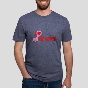 Pink I Heart/Support My Siste Mens Tri-blend T-Shi