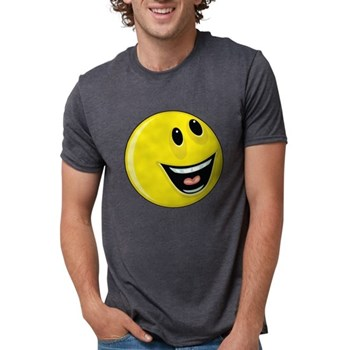 Smiley Face - Looking Up/Left Mens Tri-blend T-Shi