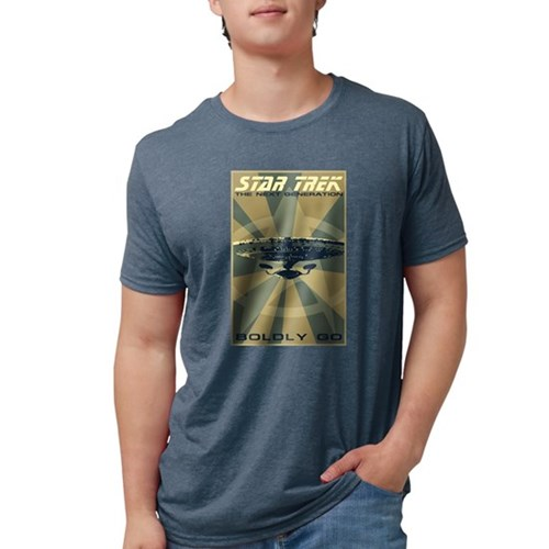 Retro Star Trek:TNG Poster Mens Tri-blend T-Shirt