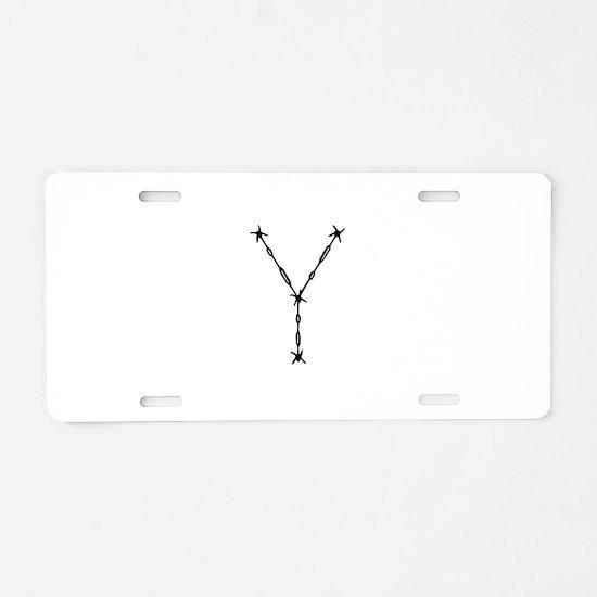 Barbed Wire Monogram Y Aluminum License Plate