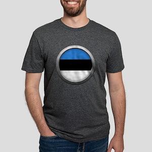 Round Flag - Estonia Mens Tri-blend T-Shirt
