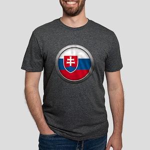 Round Flag - Slovakia Mens Tri-blend T-Shirt