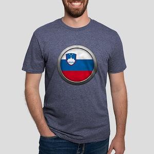 Round Flag - Slovenia Mens Tri-blend T-Shirt