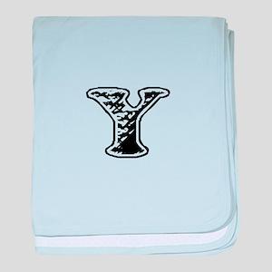 Scribbled Monogram Y baby blanket