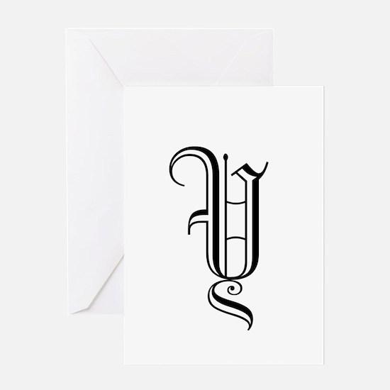 Black Letter Monogram Y Greeting Card