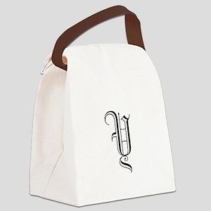 Black Letter Monogram Y Canvas Lunch Bag