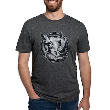 Distressed Wild Rhino Stamp Mens Tri-blend T-Shirt