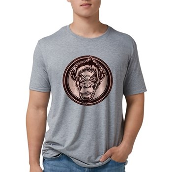 Distressed Wild Chimp Stamp Mens Tri-blend T-Shirt